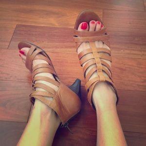 Tan Nine West gladiator sandals with mini heel
